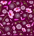 cosmos flowers and roses on maroon background vector image