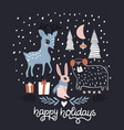 creative greeting winter with cute animals vector image