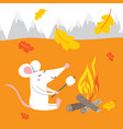 cute rat on autumn vacation vector image vector image