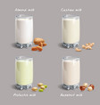 different types non-dairy milk vegan nut-milk vector image