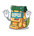 diving backpack character cartoon style vector image