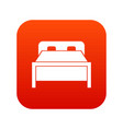 double bed icon digital red vector image vector image