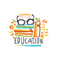 education day logo original design with books vector image