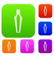 elegant woman perfume glass bottle set color vector image vector image