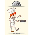 Female chef cooking with a pan vector image