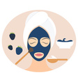 Flat design woman in natural mask of yogurt egg vector image vector image