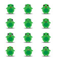 flat emoji collection funny frog vector image vector image