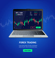 forex trading banner with realistic detailed 3d vector image