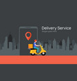 free delivery boy phone service delivery man food vector image vector image