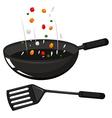 Frying pan and black spatula vector image