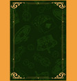 gambling vintage green poster vector image vector image