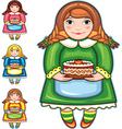 girl pie birthday set vector image vector image