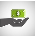 Hand holding cash icon vector image