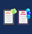 happy birthday greeting cards square frame balloon vector image vector image