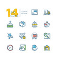 logistics - colorful thin line design icons set vector image vector image