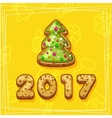 merry christmas and happy new year tree cookies vector image vector image