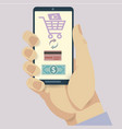 Mobile payment credit card hand holding phone vector image