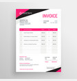 modern pink geometric invoice template design vector image vector image