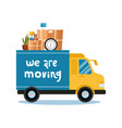 moving concept truck with home stuff inside vector image