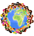 Multicultural children on planet earth vector image vector image