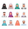 muslim characters avatars set arabian face vector image