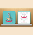 nautical wedding invitation card with floral and vector image