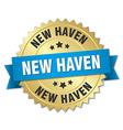 New Haven round golden badge with blue ribbon vector image vector image