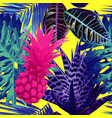 pink pineapple and blue exotic plants seamless vector image vector image