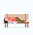 poor man sleeping outdoor drunk beggar lying on vector image