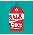 red tag sale sale limited time 50 off imag vector image vector image