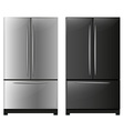 Refrigerator with black and white doors vector image vector image