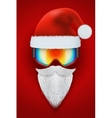 Santa Claus symbol with ski goggles and white vector image vector image