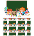 seamless background design with kids in classroom vector image vector image
