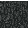 Seamless black and white doodle flowers pattern vector image vector image