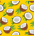 seamless pattern coconut piece on yellow vector image vector image