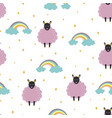 seamless pattern with cute sheeps on white vector image vector image