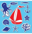 Silhouette Sea - Hand drawn set of sea symbols vector image vector image