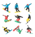Snowboarder jump in different pose on white vector image vector image