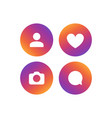 social network icon set followers vector image vector image