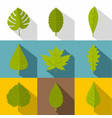 tree leaves icon set flat style vector image vector image