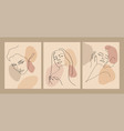 trendy outline woman portraits in pastel tones vector image