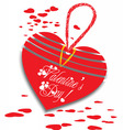 valentine greeting wool heart card vector image