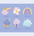 weather cute rainbows clouds storm thunder stars vector image vector image