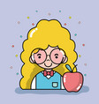 woman student with glasses and apple fruit vector image