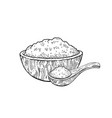 wooden bowl spoon with food - sketch flour rice vector image