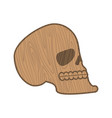 wooden skull heads of skeleton of wood isolated vector image vector image