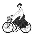 young lady dressed in elegant clothes riding city vector image vector image