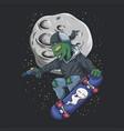 alien skateboard vector image vector image