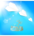 Background with a summer sky and airplane vector image vector image