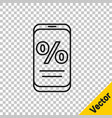 black line percent discount and mobile phone icon vector image vector image